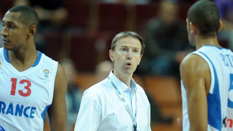 Boris Diaw, Vincent Collet et Nicolas Batum (JANEK SKARZYNSKI / AFP)