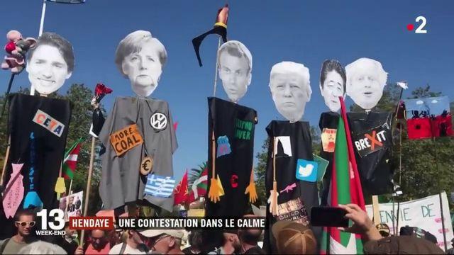 """Anti-G7 : """"gilets jaunes"""", altermondialistes, écologistes et féministes défilent à Hendaye"""
