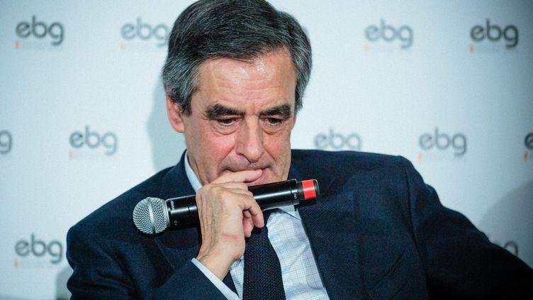 François Fillon participe à une réunion de l'Electronic Business Group, le 31 janvier 2017, à Paris. (MAXPPP)
