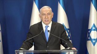 Benyamin Nétanyahou s'exprime à la télévision, le 13 février 2018, à Jérusalem. (REUTERS)