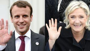 Emmanuel Macron et Marine Le Pen, le 24 avril 2017 et le 18 mai 2015. (JEAN-SEBASTIEN EVRARD / AFP)