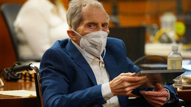 Robert Durst lors de son procès pour meurtre au tribunal d'Inglewood, en Californie,le 18 mai 2021. (AL SEIB / AFP)
