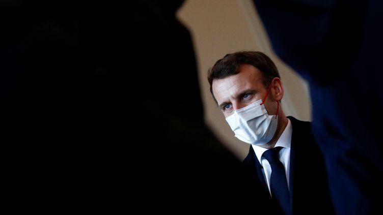 Le président de la République Emmanuel Macron à Brest (Finistère) le 19 janvier 2021 lors de ses voeux aux armées (STEPHANE MAHE / POOL)