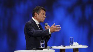 Le maire de Nice Christian Estrosi, prend la parole lors du Forum de l'économie de la mer à Nice, le 14 septembre 2021. (DANIEL COLE / POOL / AP POOL)