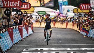 Le coureur slovène Primoz Roglic remportela 19e étape du Tour de France, le 27 juillet 2018 à Laruns (Pyrénées-Atlantiques). (MARCO BERTORELLO / AFP)