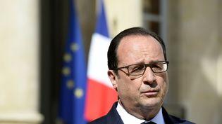 François Hollande, dans la cour de l'Elysée, à l'issue d'un conseil restreint sur la situation en Grèce, le 29 juin 2015. (ALAIN JOCARD / AFP)