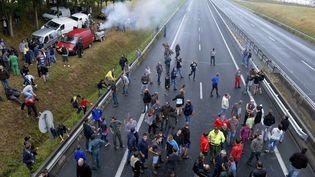 Des agriculteurs manifestent à 15km de Caen (Calvados) le 19 juillet 2015. (MAXPPP)