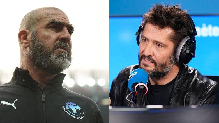 Eric Cantona et Bixente Lizarazu. (OLI SCARFF / AFP CHRISTOPHE ABRAMOWITZ / RADIO FRANCE)