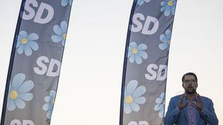 Jimmie Akesson, dirigeant des Démocrates de Suède lors d'un meeting de campagne àStockholm, le 8 septembre 2018. (JONATHAN NACKSTRAND / AFP)
