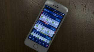 Un site de paris sportifs en ligne sur un smartphone. (GREG LOOPING / HANS LUCAS / AFP)