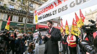 Laurent Brun, le porte-parole de la CGT cheminots, jeudi 5 décembre. (MICHEL STOUPAK / NURPHOTO / AFP)