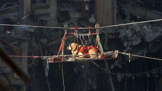 Un chien sauveteur, photographié le 15 septembre 2001, à New York (Etats-Unis) dans les décombres du World Trade Center, après les attentats du 11-Septembre. (PRESTON KERES / US NAVY PHOTO / AFP)