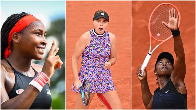 Cori Gauff (gauche), Sofia Kenin (centre) et Sloane Stephens (droite) vont tenter d'arracher un billet pour les quarts de finale de Roland-Garros 2021 ce lundi 7 juin. (AFP)