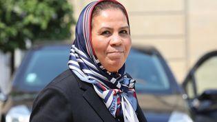 Latifa Ibn Ziaten après avoir rencontré Brigitte Macron, à l'Elysée, en 2018. (LUDOVIC MARIN / AFP)