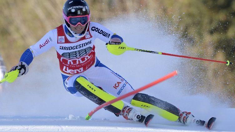 Frida Hansdotter lors de la première manche du slalom de Lienz (Autriche) (SAMUEL KUBANI / AFP)