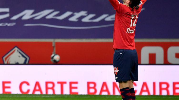 Yusuf Yazici célèbre son but contre Dijon, dimanche 31 janvier 2021 (DENIS CHARLET / AFP)