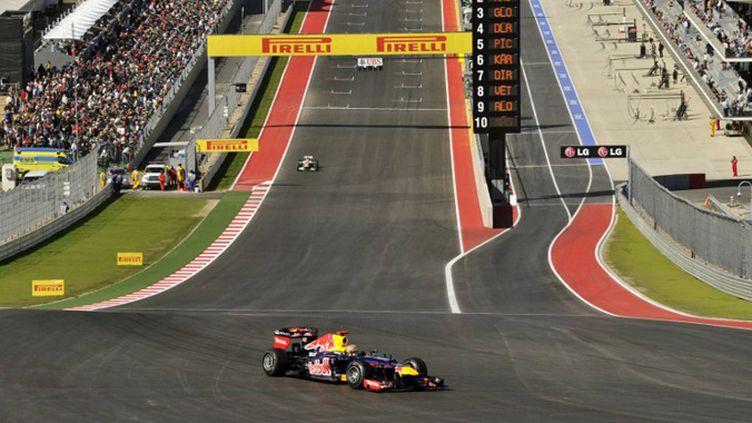 Sebastian Vettel au bout de la ligne droite d'Austin