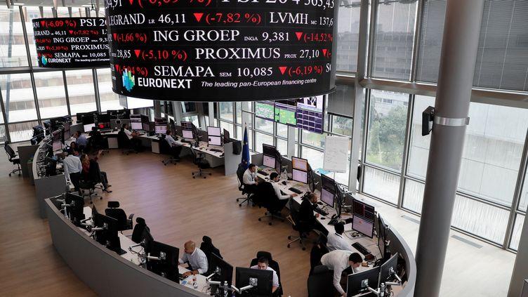La salle des marchés Euronext à La Défense (Paris). (THOMAS SAMSON / AFP)