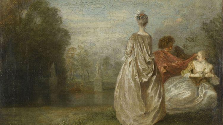 """Antoine Watteau,""""Les Deux Cousines"""", (vers 1716). Huile sur toile, 30 x 36 cm. Paris, musée du Louvre. (RMN-GRAND PALAIS (MUSÉE DU LOUVRE) - STÉPHANE MARÉCHALLE)"""