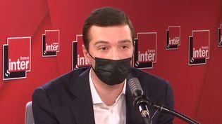Levice-président du Rassemblement National et député européen Jordan Bardella, est l'invité du Grand entretien de la matinale de France Inter. (FRANCEINTER / RADIOFRANCE)