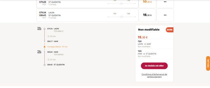 Capture d'écran du site Oui.sncf montrant un trajet entre Laon et Saint-Quentin (Aisne), avec un départ le 18 mai 2019 à 7h34 depuis Laon,et une correspondance à Ham. (OUI.SNCF)
