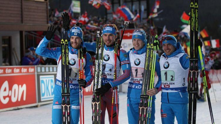 Les quatre biathlètes russes du relais victorieux (de gauche à droite) : Dmitry Malyshko, Anton Shipulin, Alexei Volkov, et Yevgeny Garanichev. (RIA Novosti) (RIA NOVOSTI)