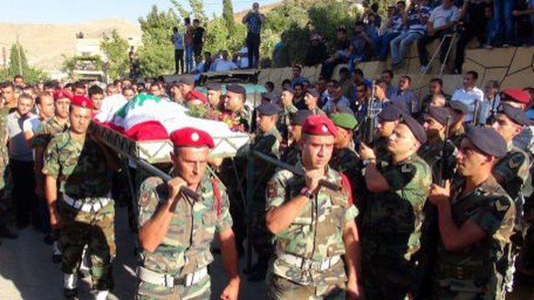 Obsèques de soldats libanais tués lors de la bataille d'Arsal, ville prise par des jihadistes syriens. 3 août 2014.