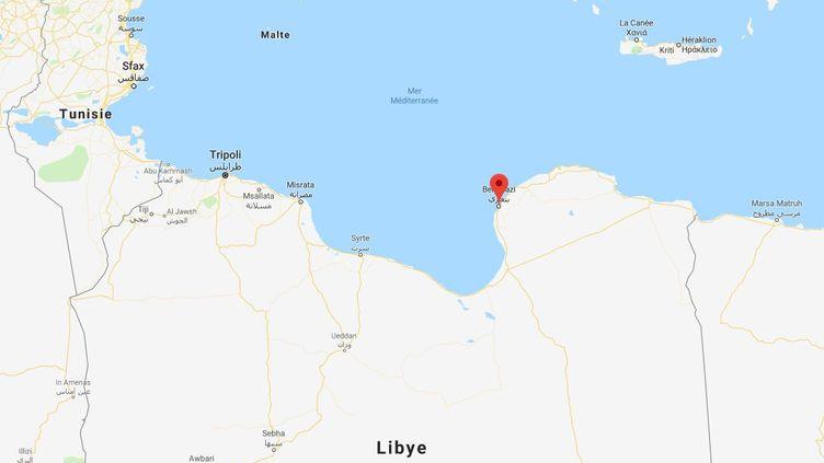 Deux membres du personnel de la mission de l'ONU en Libye ont été tués dans un attentat à la voiture piégée à Benghazi, le 10 août 2019. (GOOGLE MAPS)