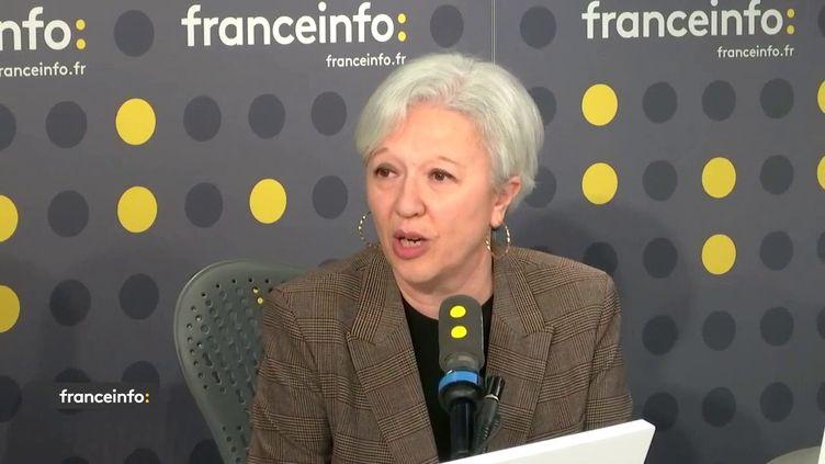 Virginie d'Enfert, déléguée générale de l'AFISE, l'Association française des industries de la détergence, producteurs de produits d'hygiène, le 5 mars sur franceinfo. (FRANCEINFO / RADIO FRANCE)
