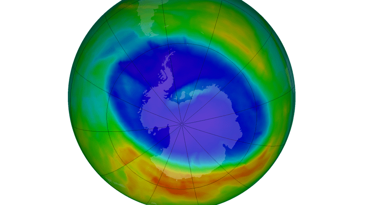 Capture d'écran du site de la Nasa montrant le trou de la couche d'ozone en Antarctique au 12 septembre 2014. En rouge, les zones où la couche d'ozone est la plus épaisseet en violet, celles où elle est la plus mince. (NASA)