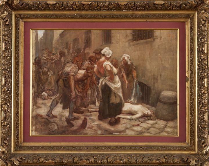 """Léon-Maxime Faivre - """"Etude pour la mort de la princesse de Lamballedevant la prison de la Force""""-Huile sur toile, avant 1908 -Musée de Vernon  (Musée de Vernon)"""
