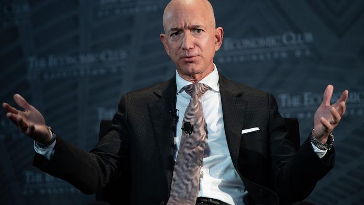 Le PDG d'Amazon, Jeff Bezos, lors d'une conférence de presse à Washington (États-Unis), le 13 septembre 2018. (SAUL LOEB / AFP)