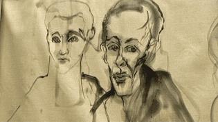 Le portrait des parents de Lydie Arickx est affiché sur les murs de l'usine Cavrois Mahieu de Roubaix  (France 3 / Culturebox)