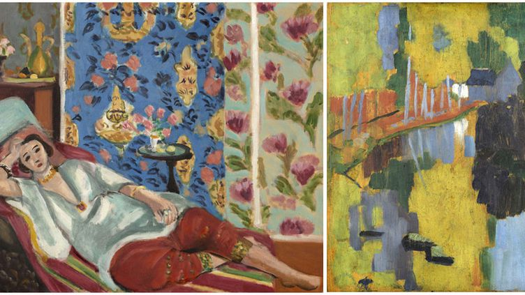 """A gauche, Henri Matisse, """"Odalisque à la culotte rouge"""", vers 1924-1925, Paris, musée de l'Orangerie - A droite, Paul Sérusier, """"Le Talisman"""", dit aussi """"Paysage au Bois d'Amour"""", recto, 1888, Paris, musée d'Orsay  (A gauche  Photo © RMN-Grand Palais (musée de l'Orangerie) /  Michel Urtado / Benoit Touchard © Succession H. Matisse - A droite Photo © Musée d'Orsay, Dist. RMN - Grand Palais / Patrice Schmidt)"""