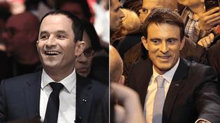 Les deux finalistes de la primaire de la gauche, Benoît Hamon et Manuel Valls, en meeting à Montreuil et Alfortville à trois jours du second tour, le 26 janvier 2016. (AFP)