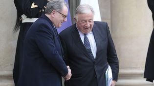 Le président de l'Assemblée nationale Richard Ferrand et le président du Sénat, Gérard Larcher. (LUDOVIC MARIN / AFP)