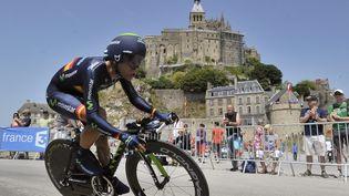 Le cycliste espagnol José Joaquin Rojas pendant la 11e étape du Tour de France 2013, au pied du Mont Saint-Michel, le 10 juillet 2013. (MAXPPP)