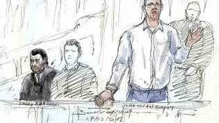 Jonathan Guyot, le principal accusé du procès, à la barre du tribunal correctionnel de Paris, en mars 2017. (BENOIT PEYRUCQ / AFP)