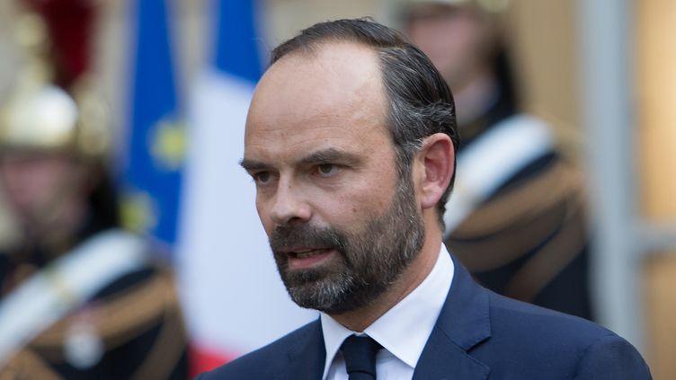 Edouard Philippe, lors de la passation de pouvoirs à Matignon, le 15 mai 2017. (IRINA KALASHNIKOVA / SPUTNIK / AFP)