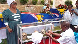 En mars 2014, rapatriement de restes humains d'origine héréro, ovambo, san, nama, et damara. 14 crânes provenant de l'université de Fribourg puis 21 crânes et squelettes de l'Hôpital universitaire de la Charité à Berlin. (Dr. Larissa Förster)