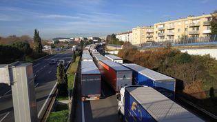 Blocage des transporteurs routiers sur l'A8 au niveau d'Aix-en-Provence, le 7 décembre 2019.  (CLAIRE LEYS / RADIO FRANCE)