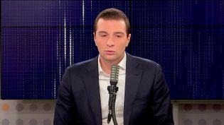 Jordan Bardella, le président du Rassemblement national (RN), le 22 octobre 2021 sur franceinfo.  (FRANCEINFO / RADIO FRANCE)