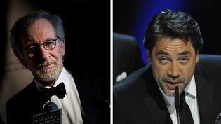 Steven Spielberg le 19 novembre 2013 à Washington, aux Archives nationales ; Javier Bardem le 18 février 2013 à Madrid, à la cérémonie des Goya  (Brendan Smialowsli / Eduardo Dieguez / AFP)