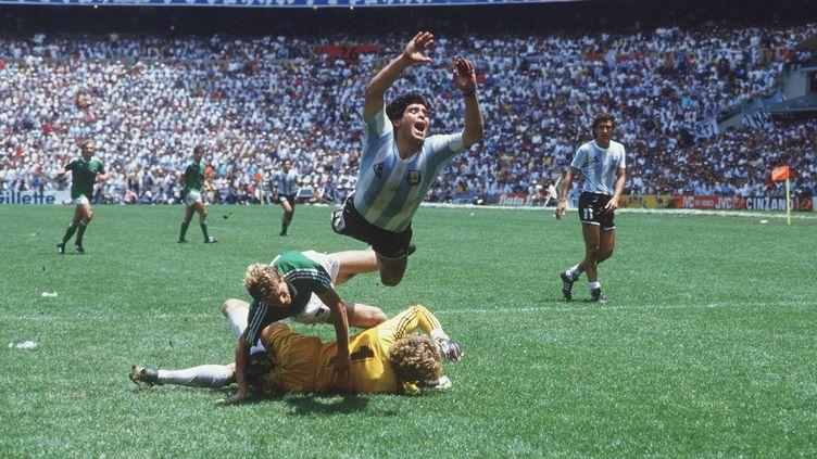 Diego Armando Maradona lors de la finale Argentine - RFA (3-2) de la Coupe du Monde 1986 à Mexico (SVEN SIMON / PICTURE-ALLIANCE)