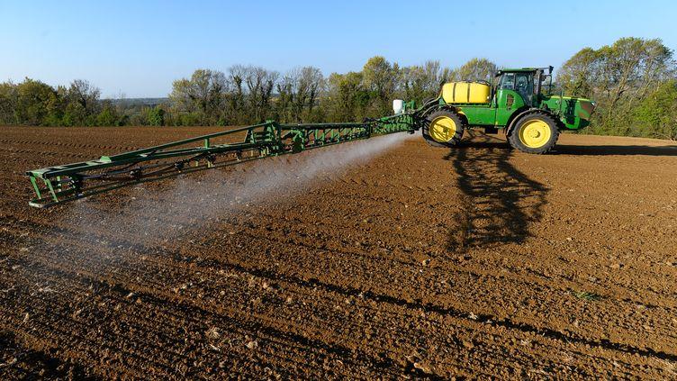 Un agriculteurépand du glyphosate sur ses terres à Piacé (Sarthe), le 23 avril 2021. (JEAN-FRANCOIS MONIER / AFP)
