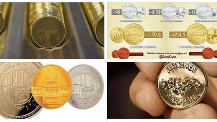 Capture d'écran du tweet d'un partisan de Daech montrant la monnaie frappée par l'organisation. (Capture d'écran)