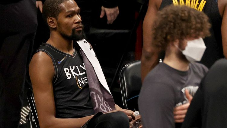 L'ailier des Brooklyn Nets, Kevin Durant. (ELSA / GETTY IMAGES NORTH AMERICA)