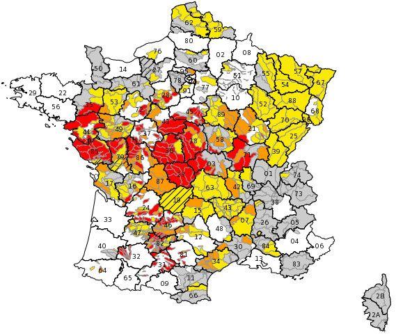 Restrictions d'eau par niveaux et par départements. (PROPLUVIA)