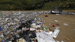 Une plage remplie de déchets, à Viggianello (Corse du Sud), le 27 avril 2018. (PASCAL POCHARD-CASABIANCA / AFP)