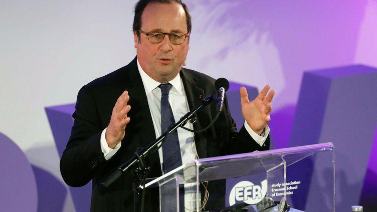François Hollande, ancien président socialiste de la République, le 3 avril 2018 aux Pays-Bas. (MAXPPP)
